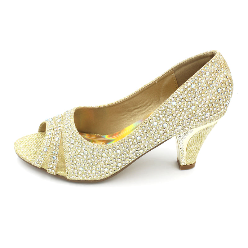 Jasmaira - 7.5CM. Ankle Heels with Embedded Stones, for Weddings, Cocktails & Reception Parties | Mid Heel for Women