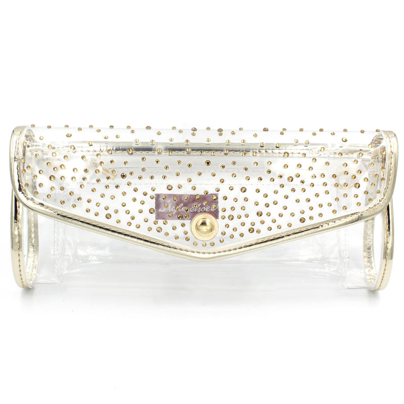Transparent See-Through Plastic Diamante Clutch Bag With Long Shoulder Chain