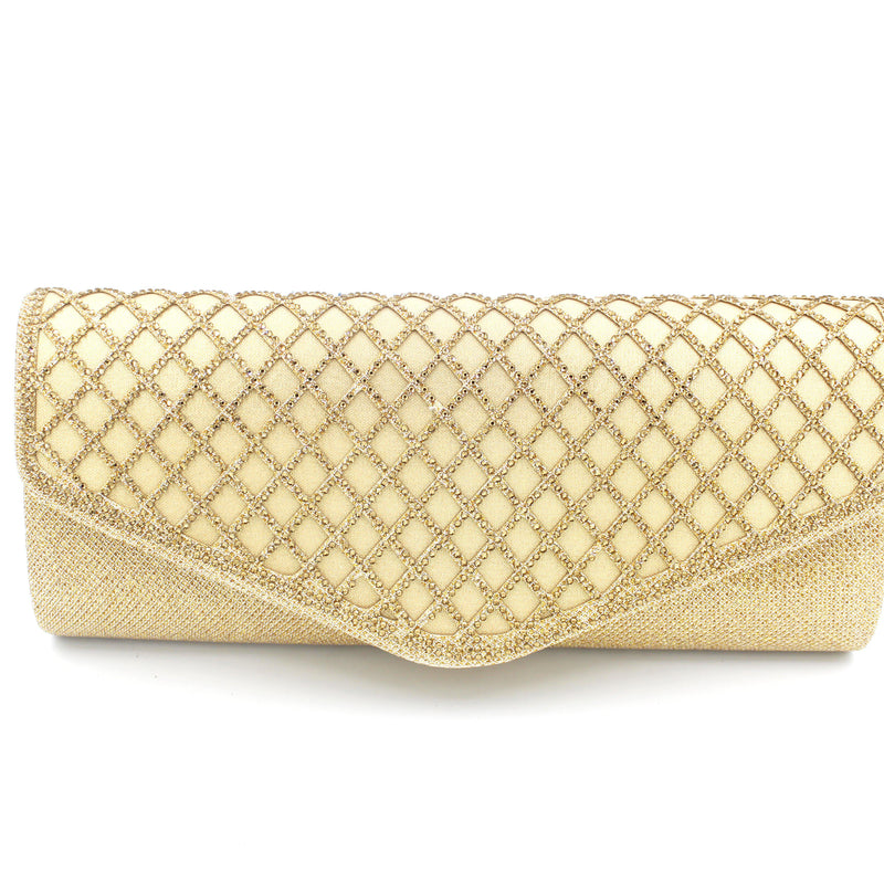 Diamond Style Soft Touch Clutch Bag With Long Shoulder Chain