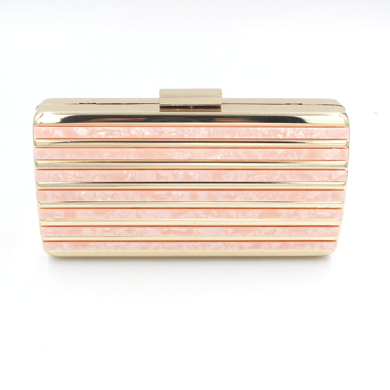 Marble Style Clutch Bag With Long Shoulder Chain Many Colours