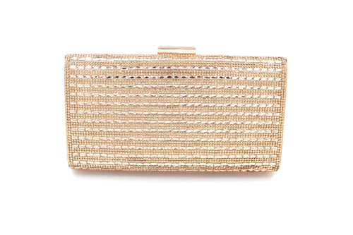 Diamante Style Clutch Bag Pattern 3 With Long Shoulder Chain