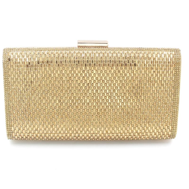 Diamante Style Clutch Bag Pattern 2 With Long Shoulder Chain
