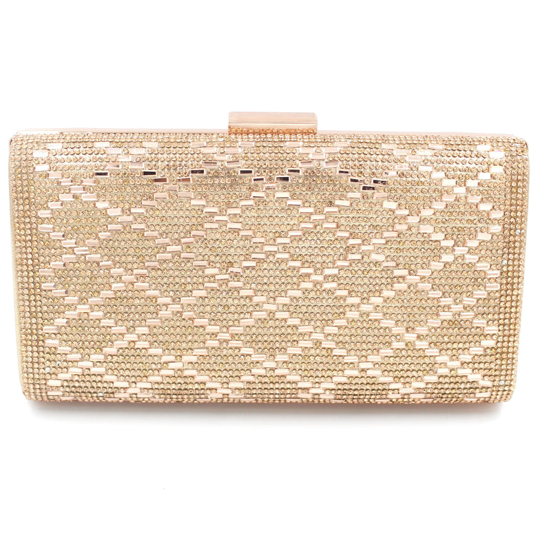 Diamante Style Clutch Bag Pattern 1 With Long Shoulder Chain