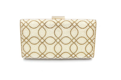 Pearl & Diamante Clutch Bag With Long Shoulder Chain