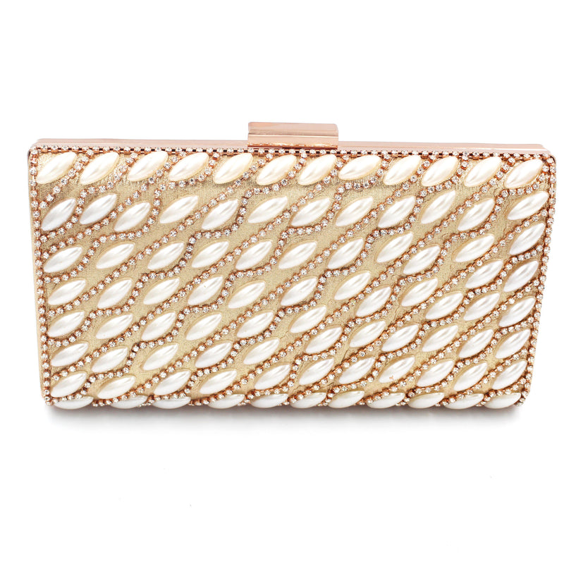 Pearl & Diamante Pattern 3 Clutch Bag With Long Shoulder Chain