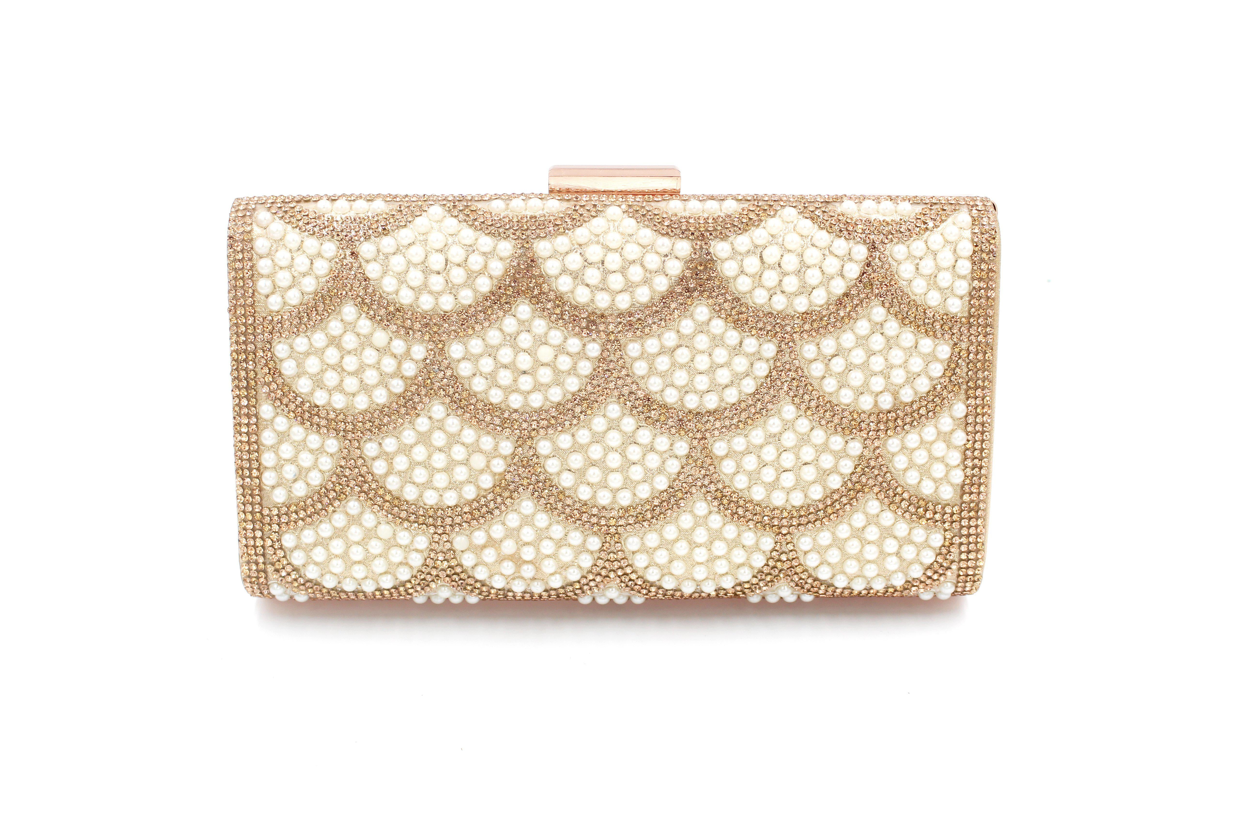 Pearl & Diamante Pattern 2 Clutch Bag With Long Shoulder Chain