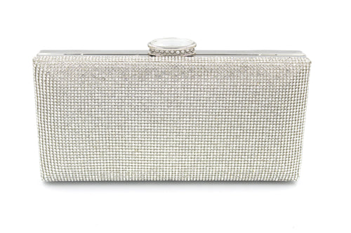 Stunning Diamante High Quality Crystal Clutch Bag Gold & Silver With Long Shoulder Chain
