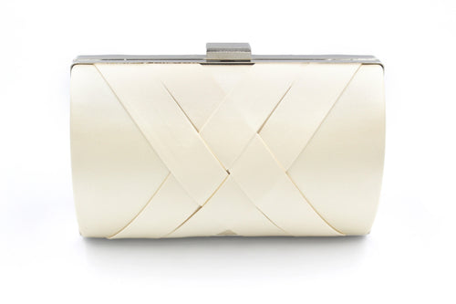 Cream Soft Touch Satin Clutch Bag With Long Shoulder Chain