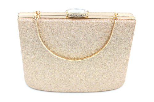 Glitter Soft Touch Satin Clutch Bag Champagne & Silver With Long Shoulder Chain