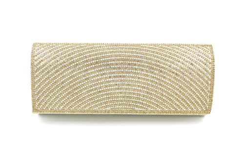 AB Stone Multi-Colour Diamante Bag Silver, Gold & Black Straight Envelope Style Clutch Bag