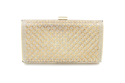 Criss-Cross Diamante Pattern Clutch Bag With Long Shoulder Chain