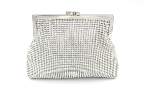 Diamante All Around Soft Touch Clutch Bag Gold & Silver With Long Shoulder Chain