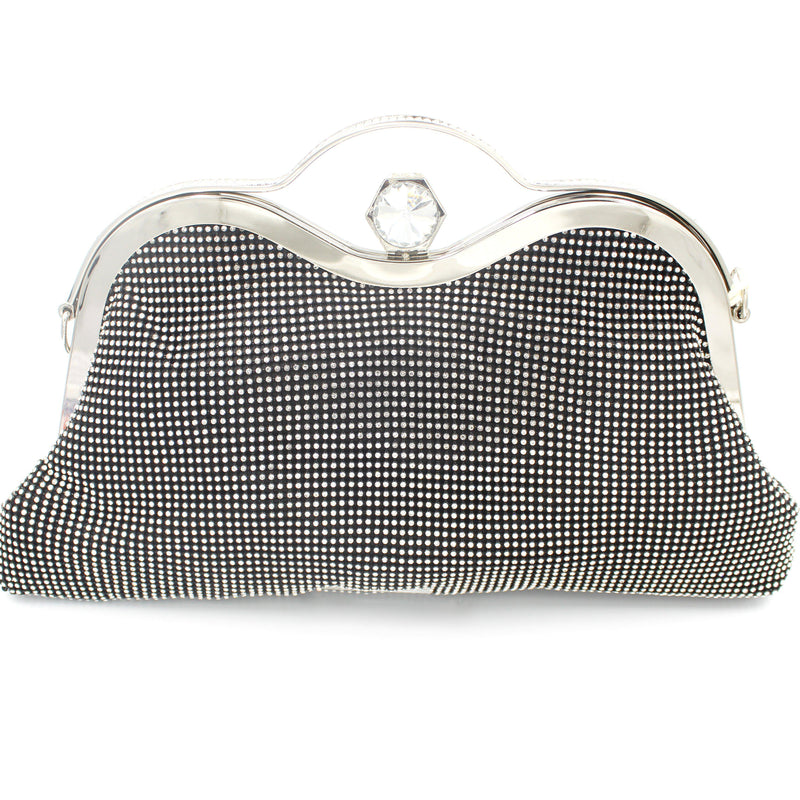 Large Soft Diamante Clutch Bag Gold, Silver, Champagne & Black With Long Shoulder Chain