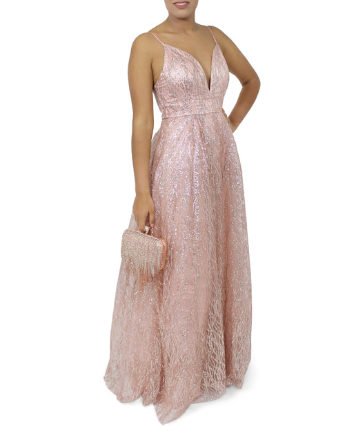 Jasmaira Deep V-Neck Sequined Party Maxi Gown