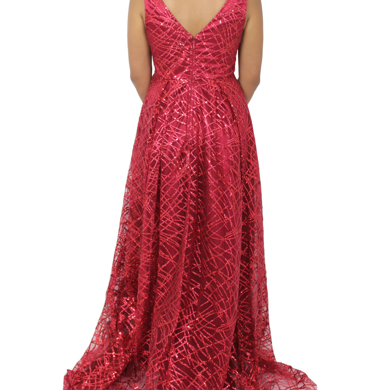 Sequined Evening Dress| Deep V-Neck Full-Length Flared Gown By Jasmaira