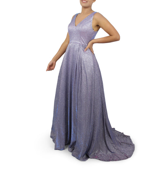 Multi-Colour Shiny Long Gown/Dress With Trail/Tail - 2 Colours Available