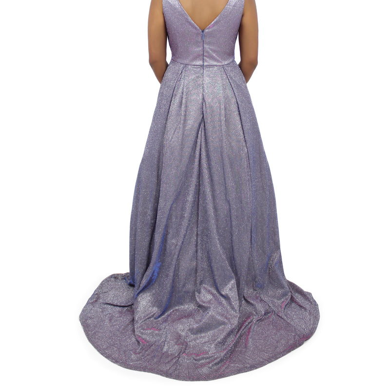 Jasmaira Shiny Long Gown/Dress With Trail/Tail - Silver & Blue