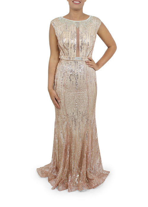 Long Fishtail Dress With Diamante Necklace Neckline Black & Rose Gold