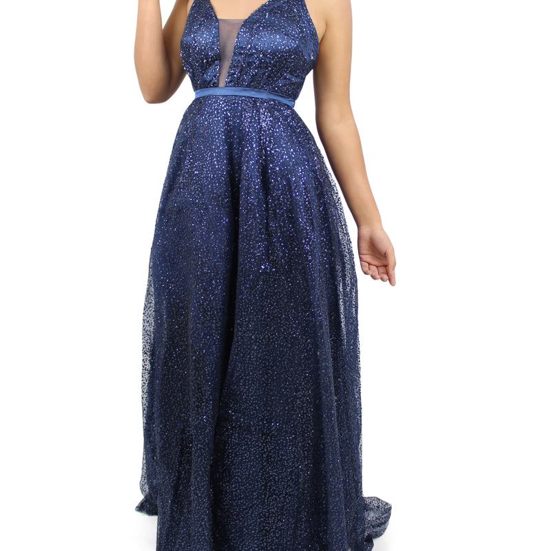 Jasmaira Falling V-Neck Glitter Embellished Formal Gown Dress