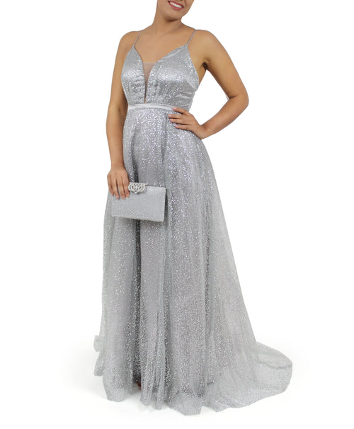 Long Glitter Dress Gown With Mesh, Trail/Tail & Criss-Cross Back