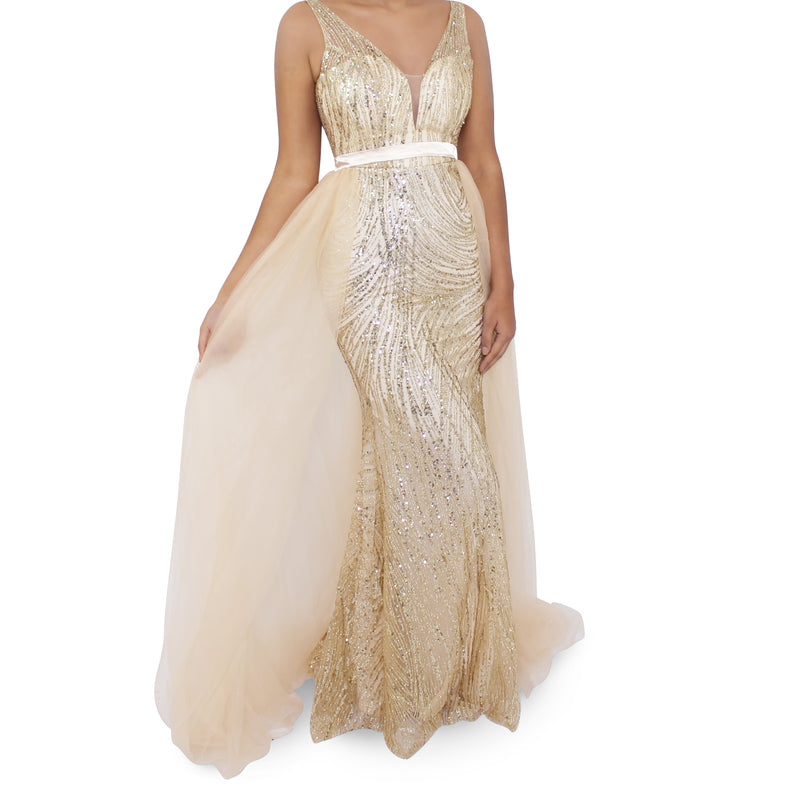 Jasmaira Long Glittery Dress With Cape On Sides & Back