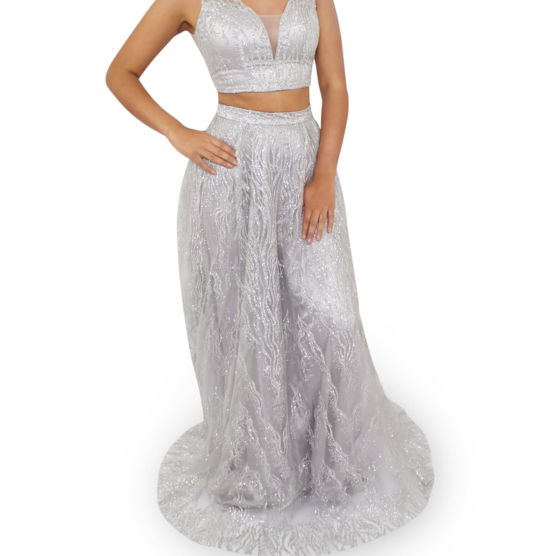2 Piece Glitter Evening Long Dress With Sweetheart Neckline