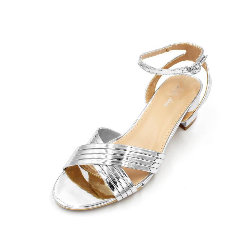 Metallic Shiny Low Heel Blocks - 4.5CM - 2 Inches - 3 Colours