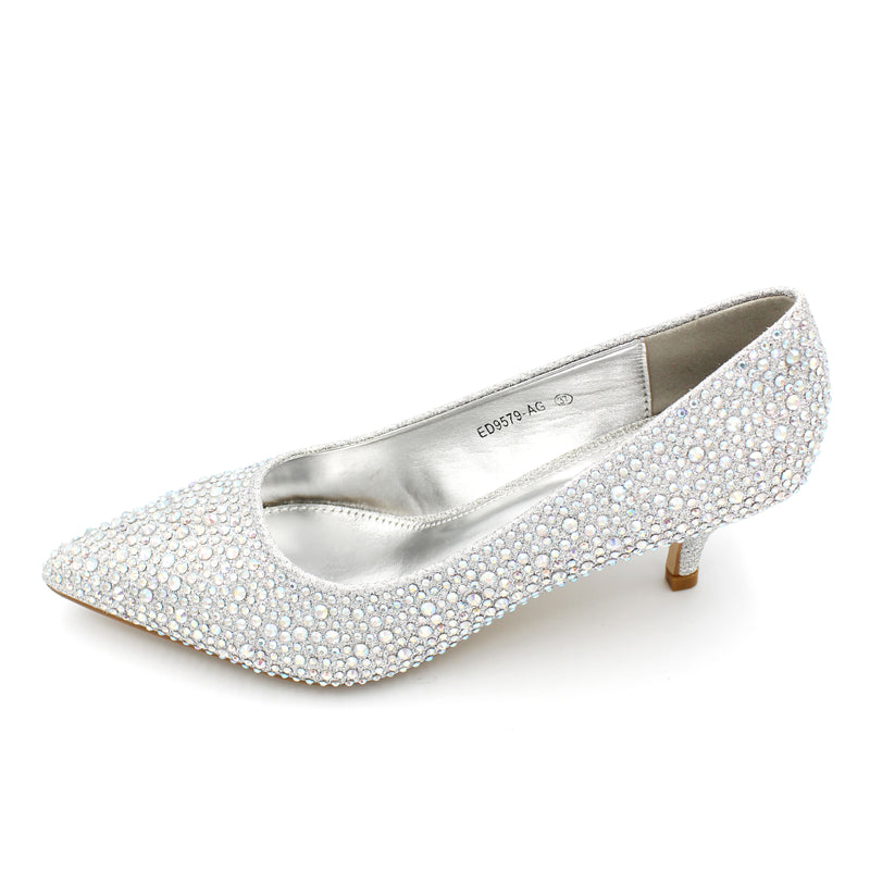 Heavy Embellished Cindrella Shoe Low Heel AB Colours - 3 Colours - 4CM - 1.5 Inches