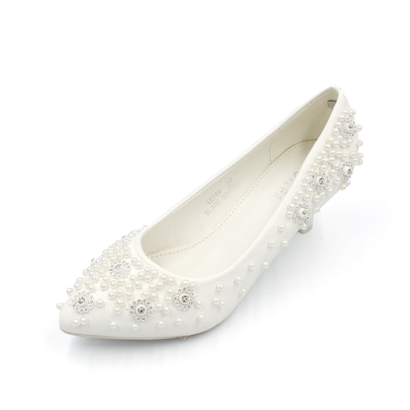Low Heel Wedding Shoe White - Ankle Heels with Embedded Pearls |Designer Heels with Diamante and Pearls