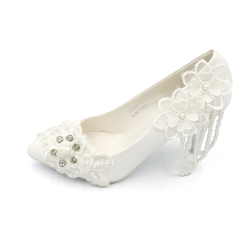 Wedding Shoe White - Ankle Heels with Embedded Pearls Closed-Toe |Designer Heels with Pearls Hanging Off At Back