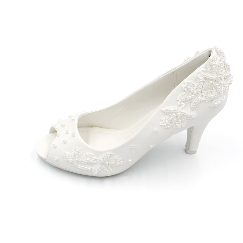 Wedding Shoe White - Ankle Heels with Embedded Pearls Peep-Toe |Designer Heels with Lace and Pearls
