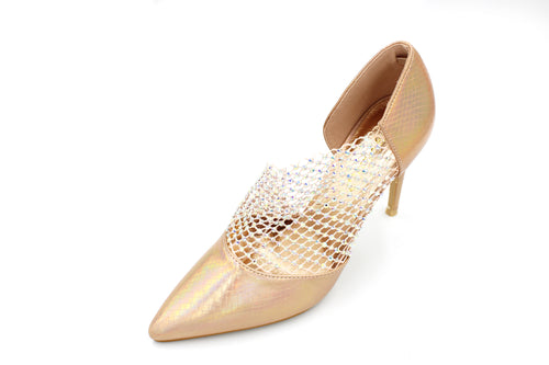 AB Stone Net Pointy Shoe Unique Design - 2 Colours - 10CM/4 Inches