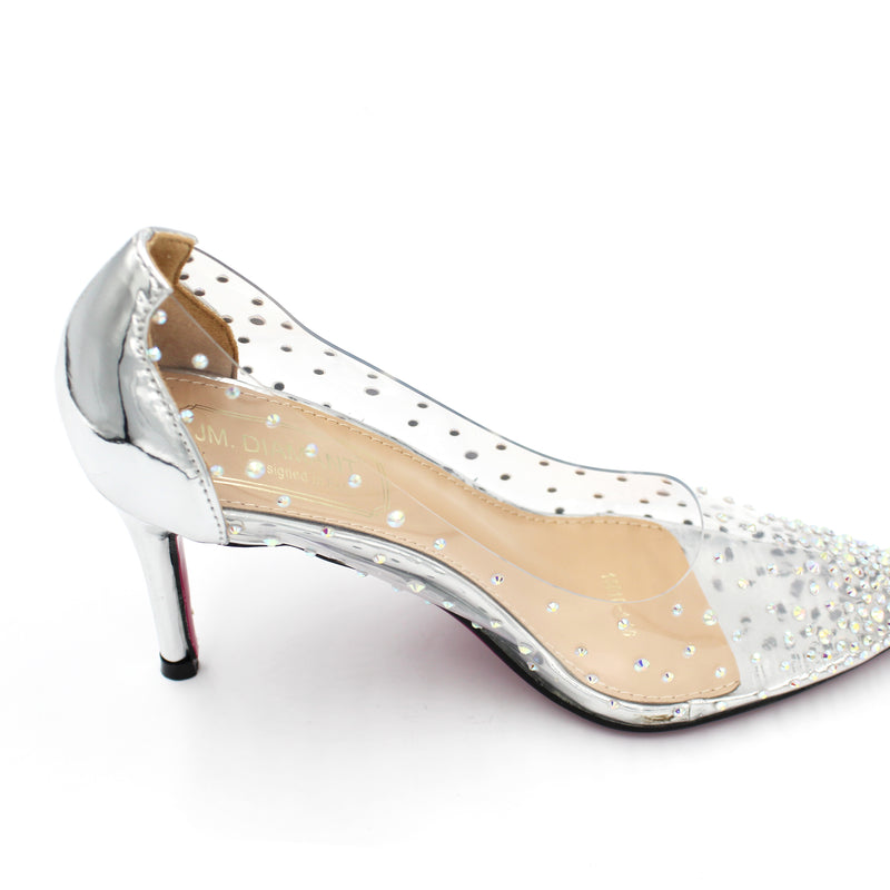 Transparent Style AB Stone Pointy Diamante Shoe - 8.5CM - 3.5 Inches - 3 Colours