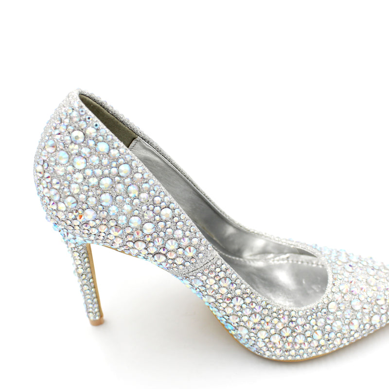 Heavy Embellished Cindrella Shoe High Heel AB Colours - 3 Colours - 11CM - 4.5 Inches