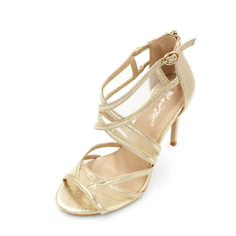 Mesh/Net Strappy Shoe High Heel - 3 Colours - 10CM - 4 Inches