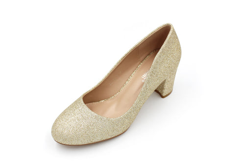 Glitter Round Toe Front With Block Heel - 3 Colours - 6.5CM - 2.5 Inches
