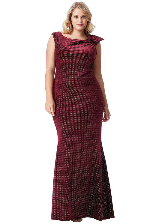 Plus Size Glitter Velvet Long Dress With A Bow Size 16, 18, 20, 22 & 24 - Jasmaira