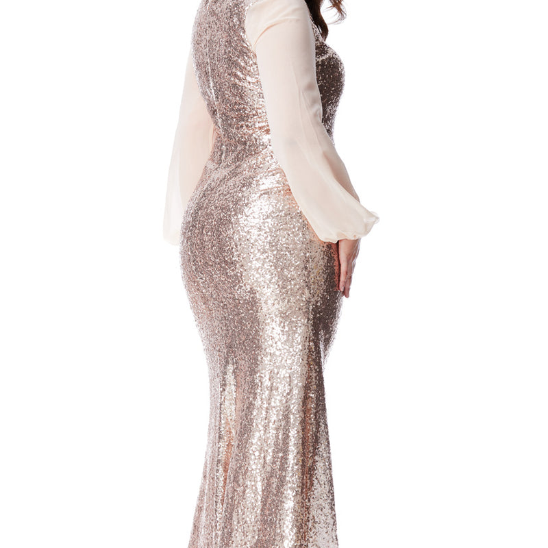 Plus Size V Neck With Sequince & Sleeves Party Evening Dress Sizes 16, 18, 20, 22, 24 & 26 - Jasmaira