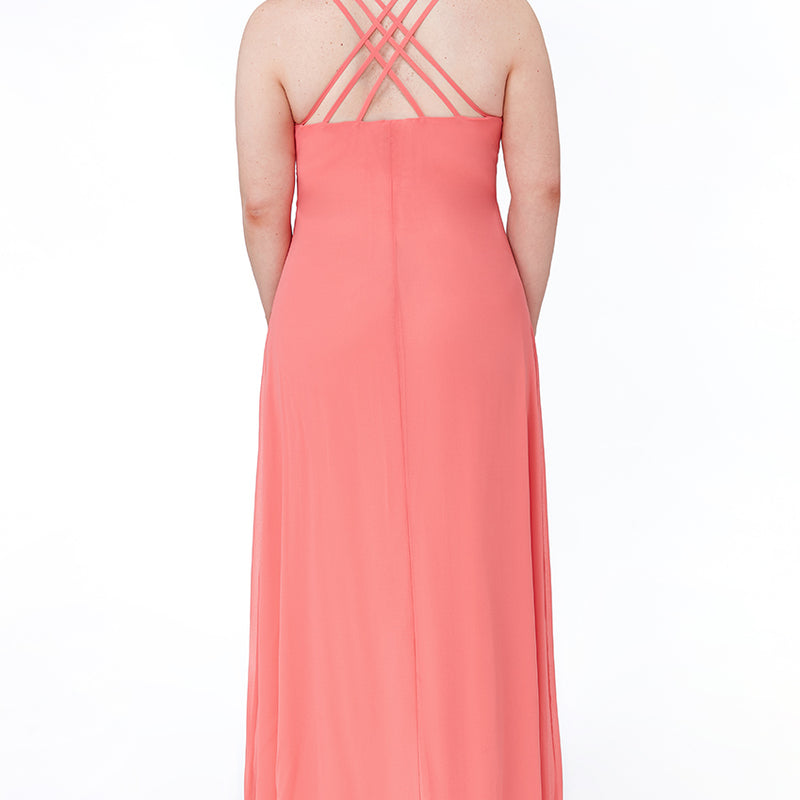 Plus Size Long V Neck Embellished Diamante Criss-Cross back Dress -Sizes 16, 18, 20, 22, 24 & 26 - Jasmaira