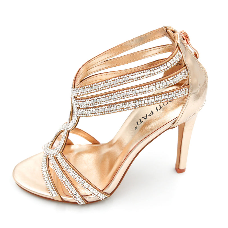 Diamante High Heel Strappy Design - 3 Colours - 10CM/4 Inches