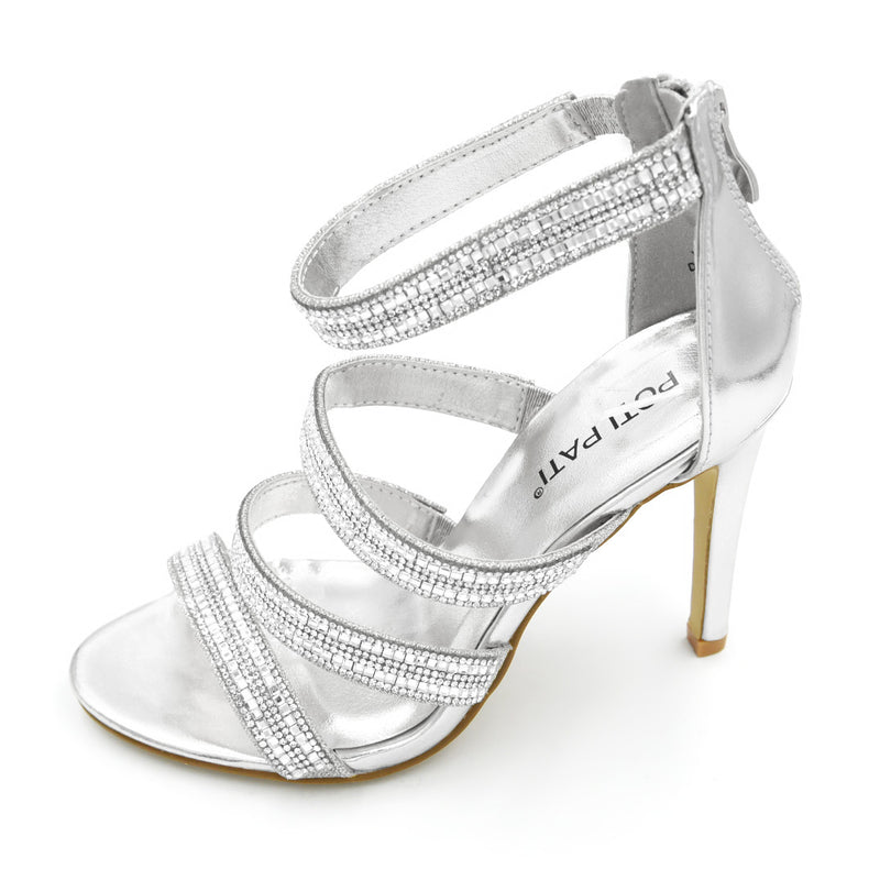 Diamante Strappy Shoe High Heel - 2 Colours - 10CM - 4 Inches
