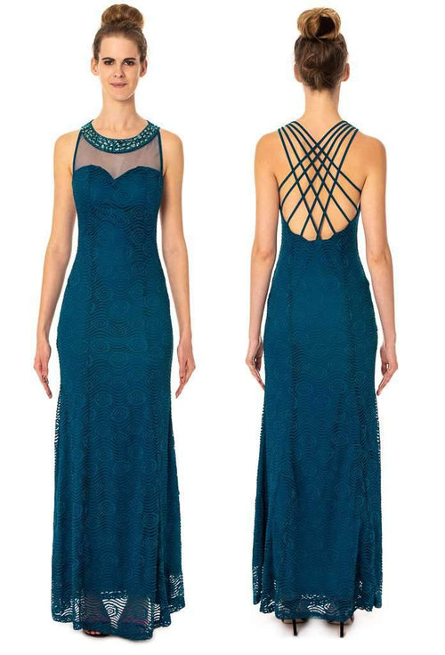 Long Lace Dress With Criss-Cross Back Prom Evening Party - Jasmaira