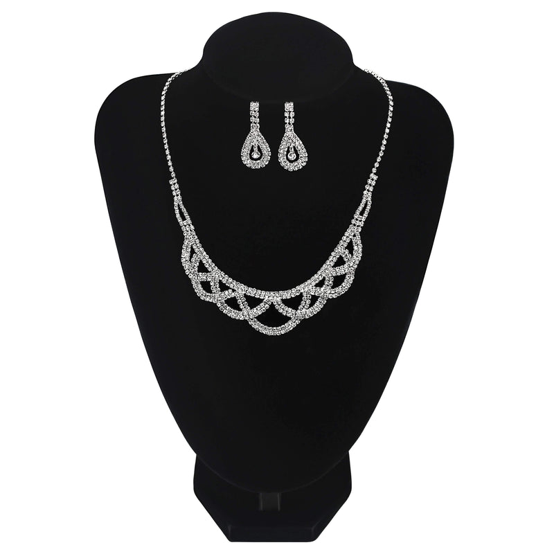 Crossover Round Necklace With Earrings - Jasmaira