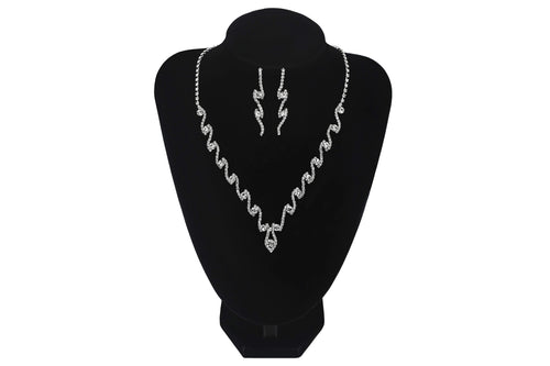 V Neck Shaped Necklace With Earrings For Wedding Prom Bridesmaids Jewellery - Jasmaira