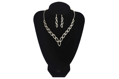 V Shape Oval Necklace With Earrings Party Prom Jewellery - Jasmaira