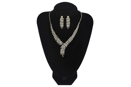 Floral V Shape Necklace Set With Earrings For Prom Wedding Bridesmaids Jewellery - Jasmaira