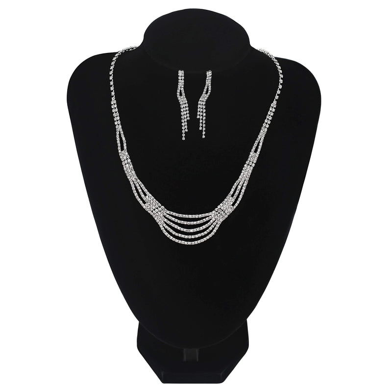 Lined Necklace With Earrings Prom Wedding Party Jewellery - Jasmaira