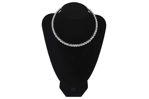 Large Diamante Single 1 Line/Row Choker Party Wedding Prom Bridesmaids Jewellery - Jasmaira