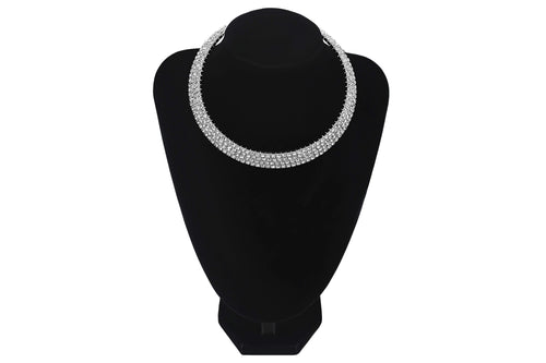 4 Row/Line Diamante Choker For Prom Bridesmaids Wedding Jewellery - Jasmaira