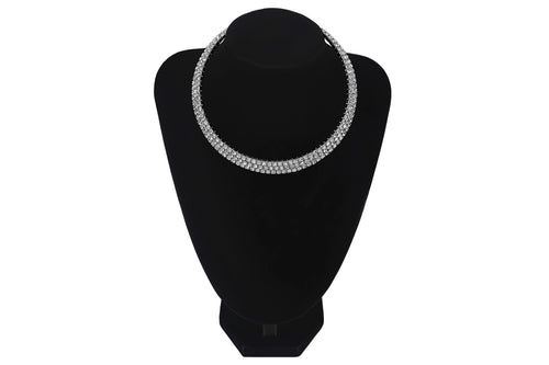 3 Row/Line Diamante Choker For Wedding Party Bridesmaids Jewellery - Jasmaira